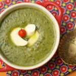 Caldo verde com queijo de trança