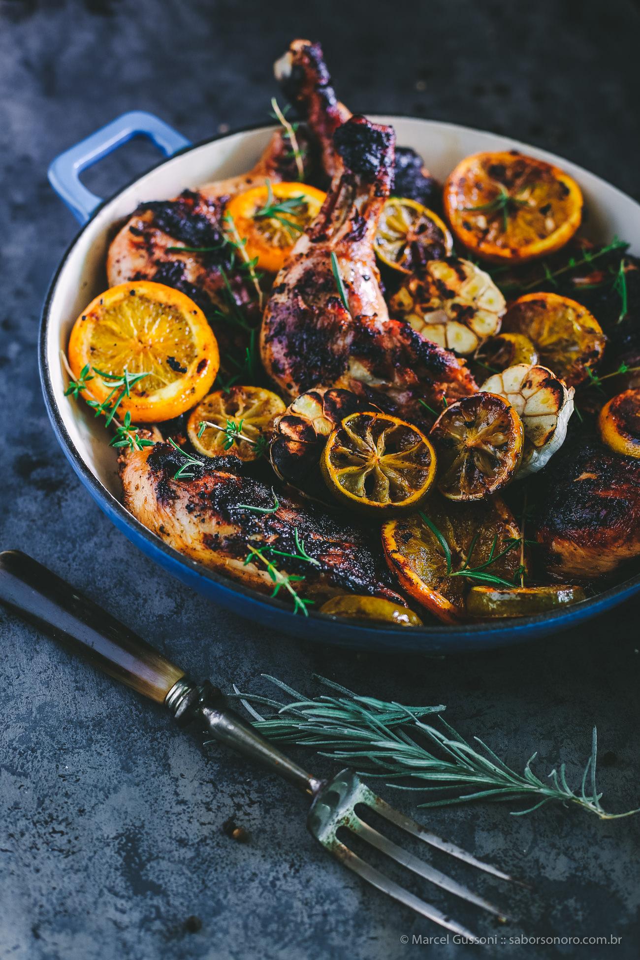 frango assado receita laranja, limão, mel e gengibre
